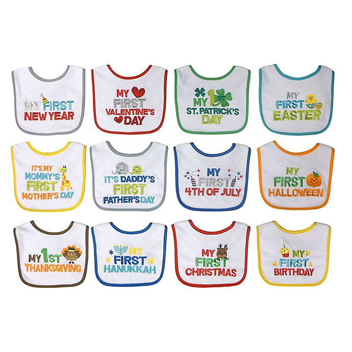 Alternate image 1 for Neat Solutions® 12-Pack Baby's 1st Year Holiday Bib Set