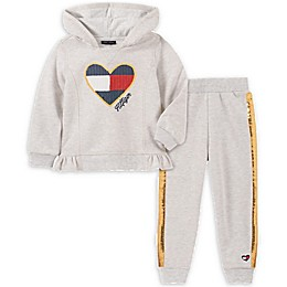 Tommy Hilfiger® 2-Piece Sequin Hoodie and Jogger Set in Oatmeal