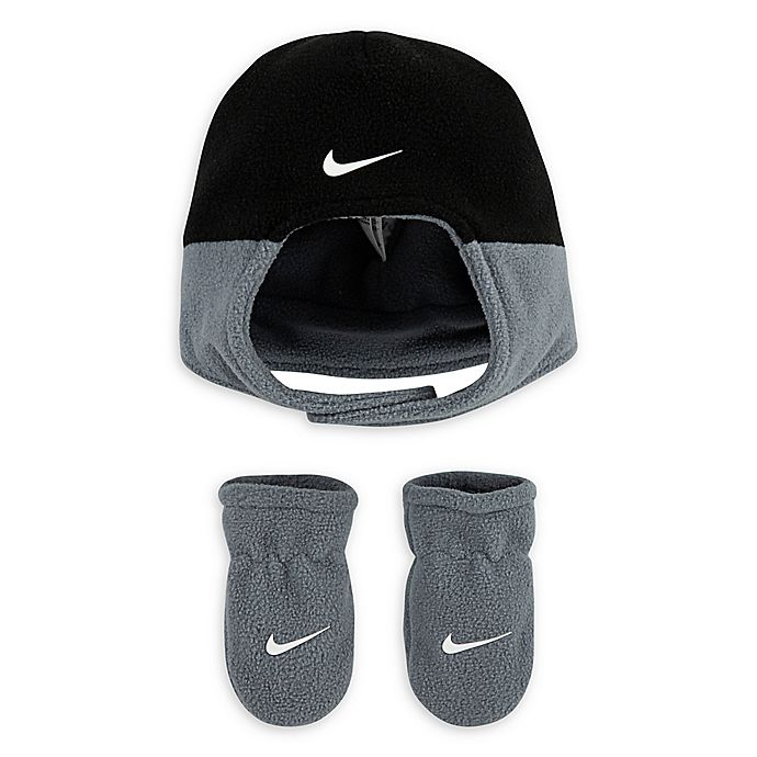 Alternate image 1 for Nike® Toddler 2-Piece Swoosh Hat and Mitten Set in Navy