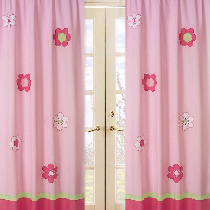 Alternate image 1 for Sweet Jojo Designs Flower Window Panel Pair in Pink/Green