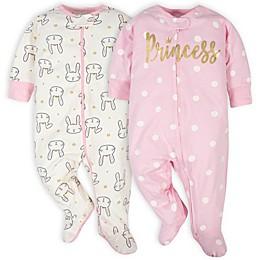 Gerber® 2-Pack Princess Sleep 'n Play Footies in Pink/White