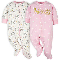 Gerber® 2-Pack Princess Sleep 'n Play Footies in Pink/White