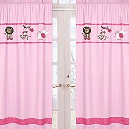 Sweet Jojo Designs Jungle Friends Window Panels in Pink (Set of 2)