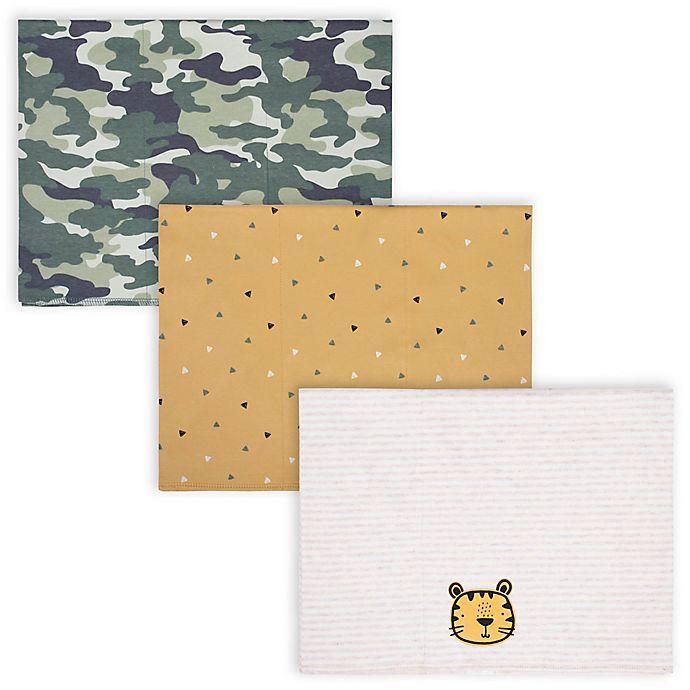 Alternate image 1 for Gerber® 3-Pack Tiger Burp Cloths in Oatmeal