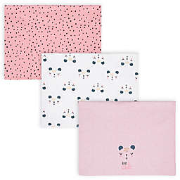 Gerber® 3-Pack Bear Burp Cloths in Pink/White