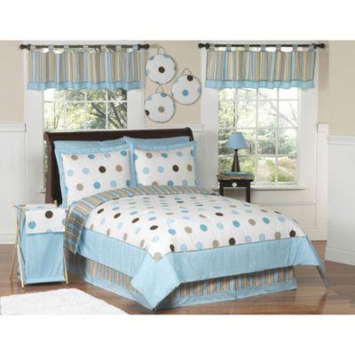 Sweet Jojo Designs Mod Dots Blue and Chocolate Bedding ...