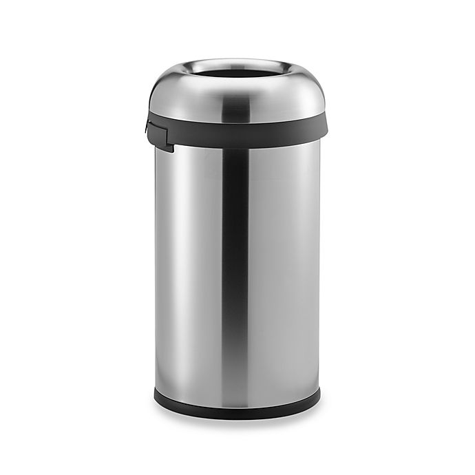 Alternate image 1 for simplehuman® Brushed Stainless Steel Bullet Open 60-Liter Trash Can
