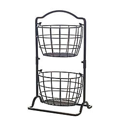 Gourmet Basics By Mikasa® 2-Tier Iron Fruit Basket in Black