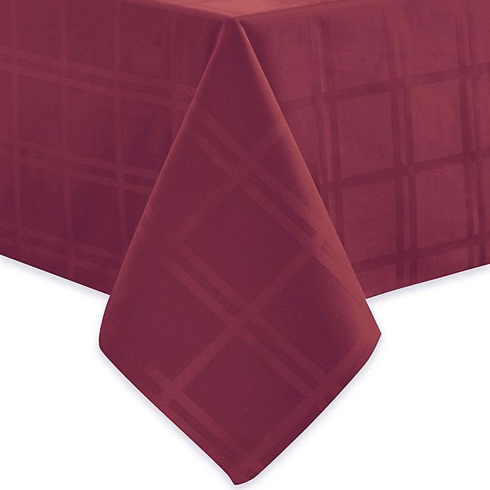 Alternate image 1 for Origins™ Microfiber 60-Inch x 140-Inch Oblong Tablecloth in Ruby
