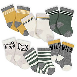 Gerber® 6-Pack Wild Stripe Terry Socks in Grey/Green