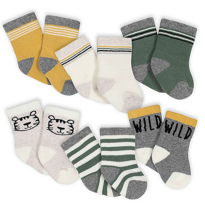 Alternate image 1 for Gerber® Size 3-6M 6-Pack Wild Stripe Terry Socks in Grey/Green
