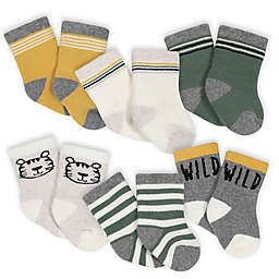 Gerber® Size 0-3M 6-Pack Wild Stripe Terry Socks in Grey/Green