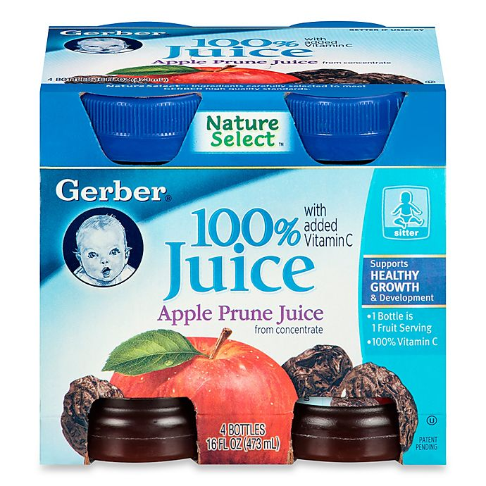 Alternate image 1 for Gerber® 100% 4 oz Apple Prune Juice From Concentrate With Added Vitamin C (4-Pack)