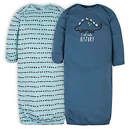 Gerber® Size 0-6M 2-Pack Dinosaurs Gowns in Blue/Green