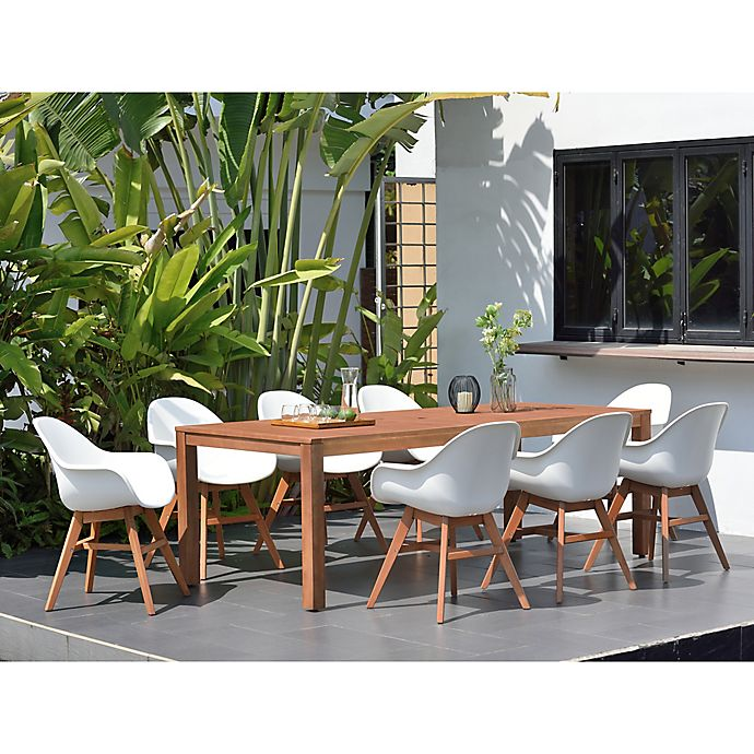 Alternate image 1 for Amazonia Charlotte 9-Piece Outdoor Dining Set in Dark Brown/White