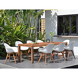 Amazonia Charlotte 9-Piece Outdoor Dining Set in Dark Brown/White