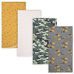 Gerber® 4-Pack Camo Tiger Flannel Receiving Blankets in Green