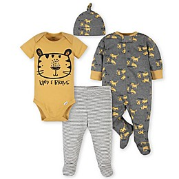 Gerber® 4-Piece Tiger Take Me Home Set in Grey/Gold
