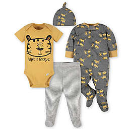 Gerber® Preemie 4-Piece Tiger Take Me Home Set in Grey/Gold