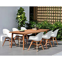 Amazonia Charlotte 7-Piece Outdoor Dining Set in Dark Brown/White