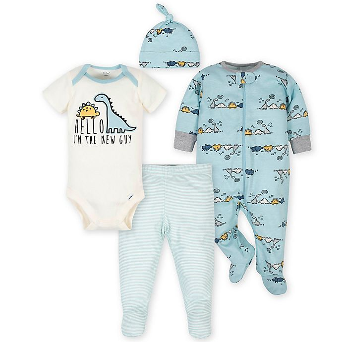 Alternate image 1 for Gerber® 4-Piece Dino Take Me Home Set in Blue/Ivory