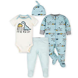 Gerber® 4-Piece Dino Take Me Home Set in Blue/Ivory