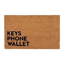 """Entryways Reminder 17"""" x 28"""" Coir Door Mat in Black"""