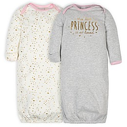 Gerber® Size 0-6M 2-Pack Princess Gowns in Pink