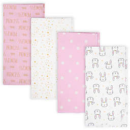 Gerber® 4-Pack Princess Bunny Flannel Receiving Blankets in Pink/Ivory