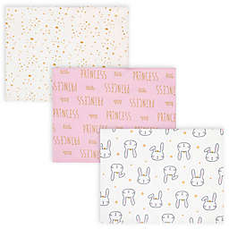 Gerber® 3-Pack Princess Bunny Burp Cloths in Pink/Ivory