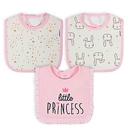 Gerber® 3-Pack Princess Bunny Bibs in Pink/Ivory
