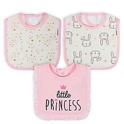 Gerber® 3-Pack Princess Bunny Bibs in Pink/Ivory