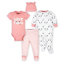 Gerber® 4-Piece Bear Take Me Home Set in White/Pink