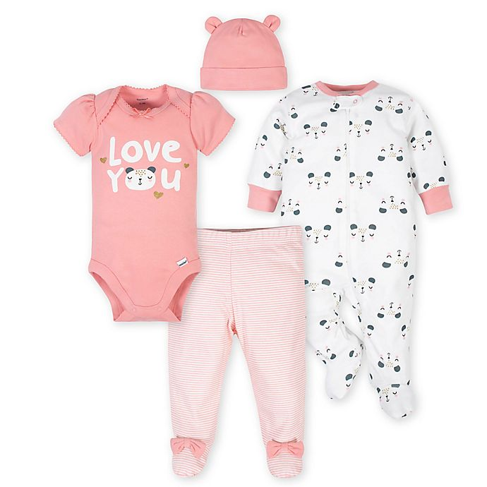 Alternate image 1 for Gerber® Size 3-6M 4-Piece Bear Take Me Home Set in White/Pink