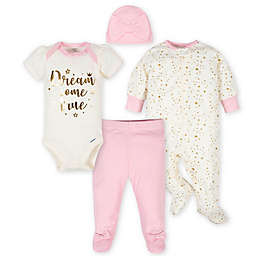 Gerber® Size 3-6M 4-Piece Princess Take Me Home Set in Pink/Ivory