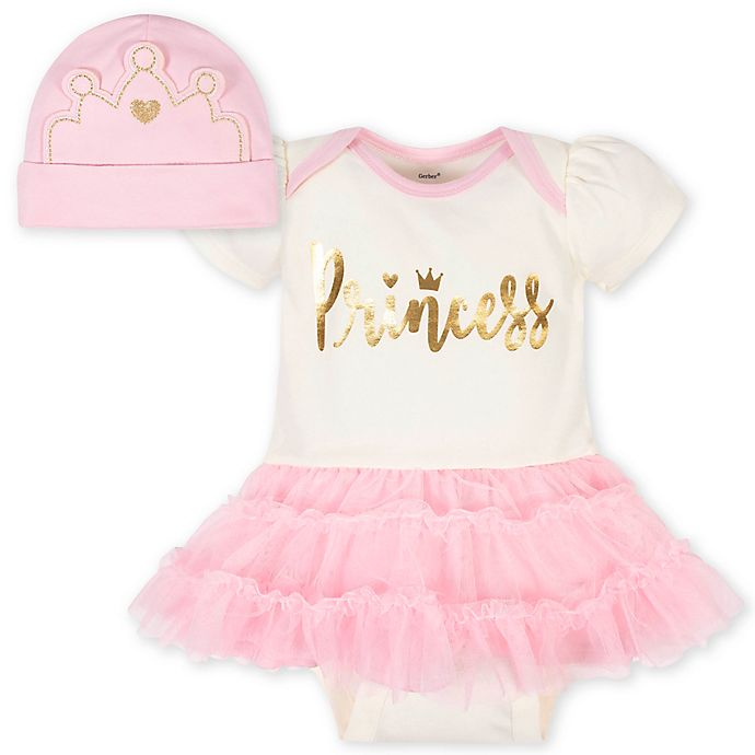 Alternate image 1 for Gerber® 2-Piece Princess Tutu Bodysuit and Cap Set in Pink/White
