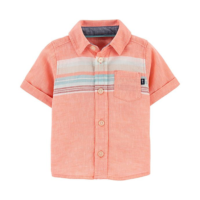 Alternate image 1 for OshKosh B'gosh® Stripe Shirt in Coral