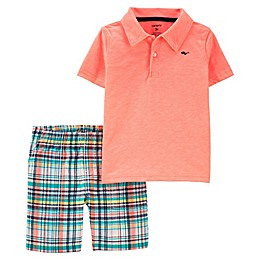 carter's® 2-Piece Plaid Polo and Short Set in Neon