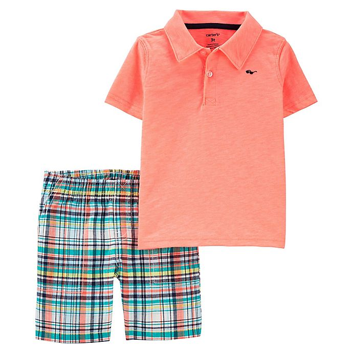 Alternate image 1 for carter's® 2-Piece Plaid Polo and Short Set in Neon