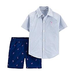 carter's® 2-Piece Flamingo Button-Up and Short Set