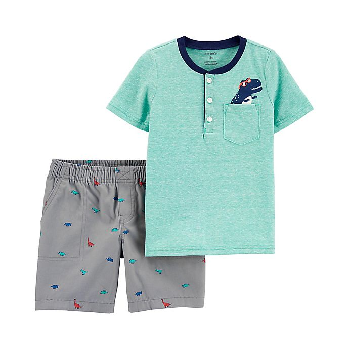 Alternate image 1 for carter's® 2-Piece Dino Shirt and Short Set in Turquoise