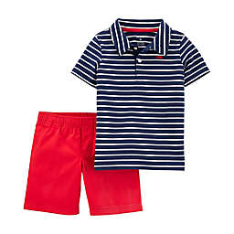 carter's® 2-Piece Striped Polo Shirt and Short Set in Red