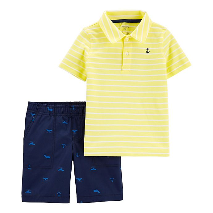 Alternate image 1 for carter's® 2-Piece Stripe Polo and Short Set in Yellow