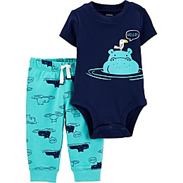 carter's® 2-Piece Hippo Bodysuit and Pant Set in Blue