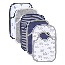 Burt's Bees Baby® 5-Pack Wandering Elephants Organic Cotton Bibs in Heather Grey