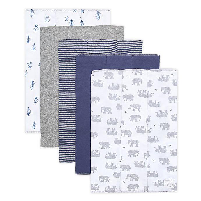 Alternate image 1 for Burt's Bees Baby® 5-Pack Wandering Elephants Organic Cotton Burp Cloths in Heather Grey