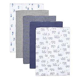 Burt's Bees Baby® 5-Pack Wandering Elephants Organic Cotton Burp Cloths in Heather Grey