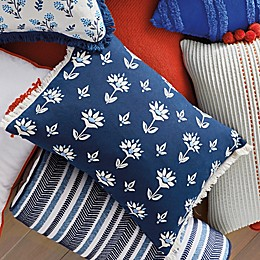 One Kings Lane Open House™ Upton Oblong Throw Pillow in Blue/White