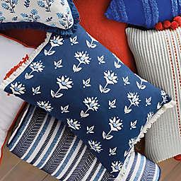 One Kings Lane Open House™ Upton Oblong Throw Pillow in Blue/White