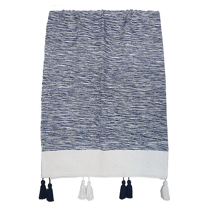 Alternate image 1 for One Kings Lane Open House™ Heathered Reversible Throw Blanket in Navy/White